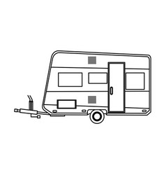 camper trailer vacation travel outline image vector image vector image