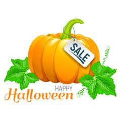 happy halloween beautiful pumpkin sale vector image vector image