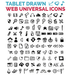mega collection of hand drawn web icons vector image