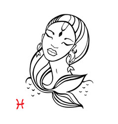 pisces zodiac beautiful fashion girl vector image