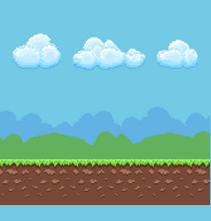 pixel 8bit game background with ground and vector image