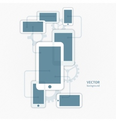 cellphone smartphone and gear icon background vector image