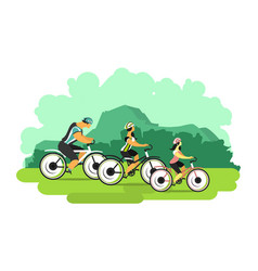 cyclists in nature vector image