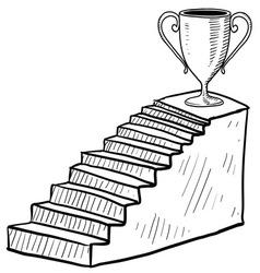 doodle stairway reward trophy vector image