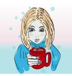 Hand drawn beautiful cute girl with coffee vector image