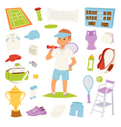 tennis player and game symbols vector image
