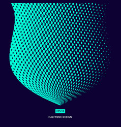 turquoise color halftone design abstract curve vector image