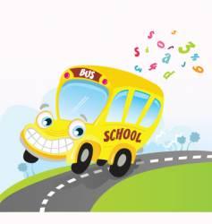 yellow school bus on road vector image vector image