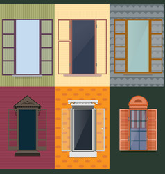 colorful decorative opened windows set vector image vector image