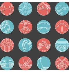 Flat round line icons for seafood vector image
