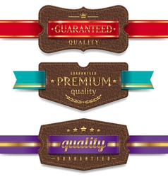 Leather quality labels with ribbon vector image vector image