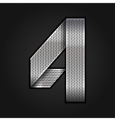 Number metal chrome ribbon - 4 - four vector image