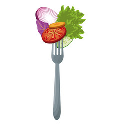 salad vegetables with fork meal vector image
