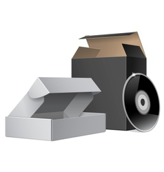 Two Package Box Opened with DVD Or CD Disk For vector image vector image