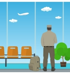 Airport Waiting Room with Man in Uniform vector image vector image