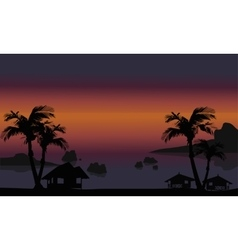 Beautiful beach scenery of silhouette vector image vector image