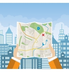 Folded Paper Map In Hand vector image vector image