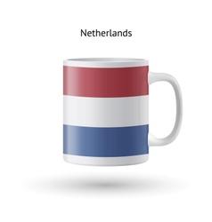 Netherlands flag souvenir mug on white background vector image vector image