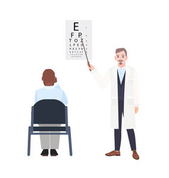 ophthalmologist with pointer standing beside eye vector image vector image