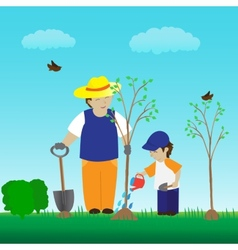 Planting tree with family in the garden vector image