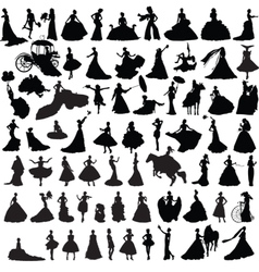 set of silhouettes of brides vector image