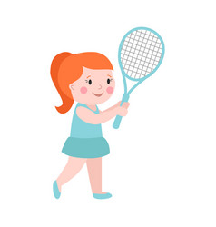 sport girl tennis player with racket athletic vector image vector image