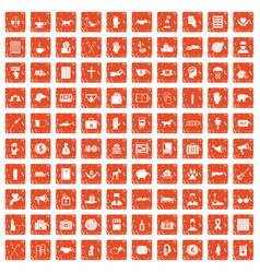 100 donation icons set grunge orange vector