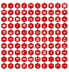 100 top hat icons hexagon red vector
