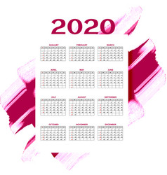 2020 new year watercolor calendar layout template vector