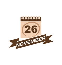 26 november calendar with ribbon vector