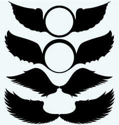 Angel wings and shield with wings vector
