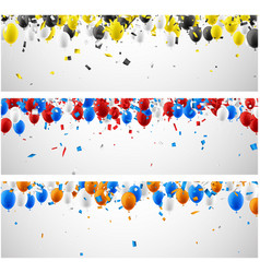 banners with balloons and confetti vector image