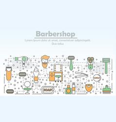 Barbershop advertising flat line art vector