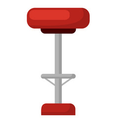 Barstool with soft seat red chair isolated icon vector