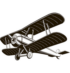 biplane retro airplane monochrome black graphic vector image