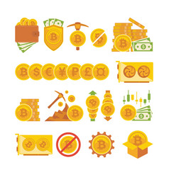 bitcoin icon set bitcoin digital money vector image