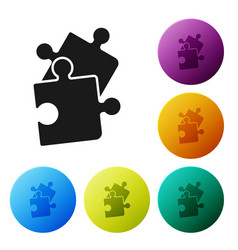 Black piece puzzle icon isolated on white vector