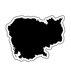 black silhouette of the country cambodia with the vector image