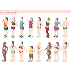 Body positivity movement isometric set vector