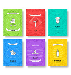 Breastfeeding week brochure cards thin line vector