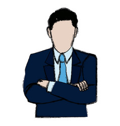 business man portrait character wear suit and tie vector image
