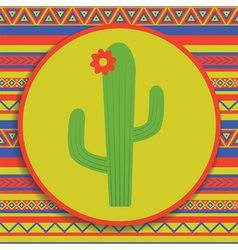 cactus on patterned background vector image