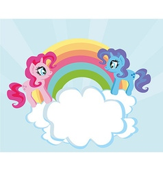 Card with a cute unicorns and rainbow vector image