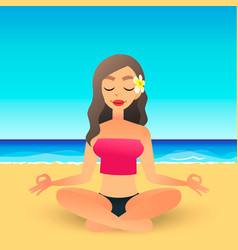 cartoon young beautiful girl on beach practicing vector image