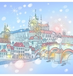 Charles Bridge in Prague at night Czechia vector image