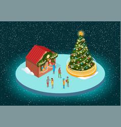 Christmas fair with fir-tree and shop-fairs vector