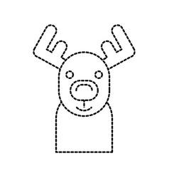 christmas reindeer horned animal decoration vector image