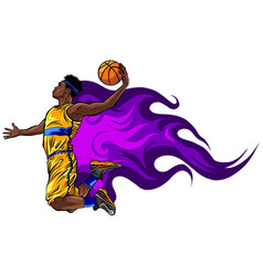 color basketball player throws the vector image