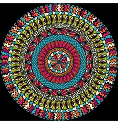 Colorful ethnicity round ornament mosaic vector image