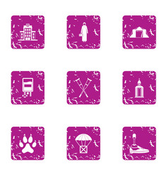 Consequence icons set grunge style vector
